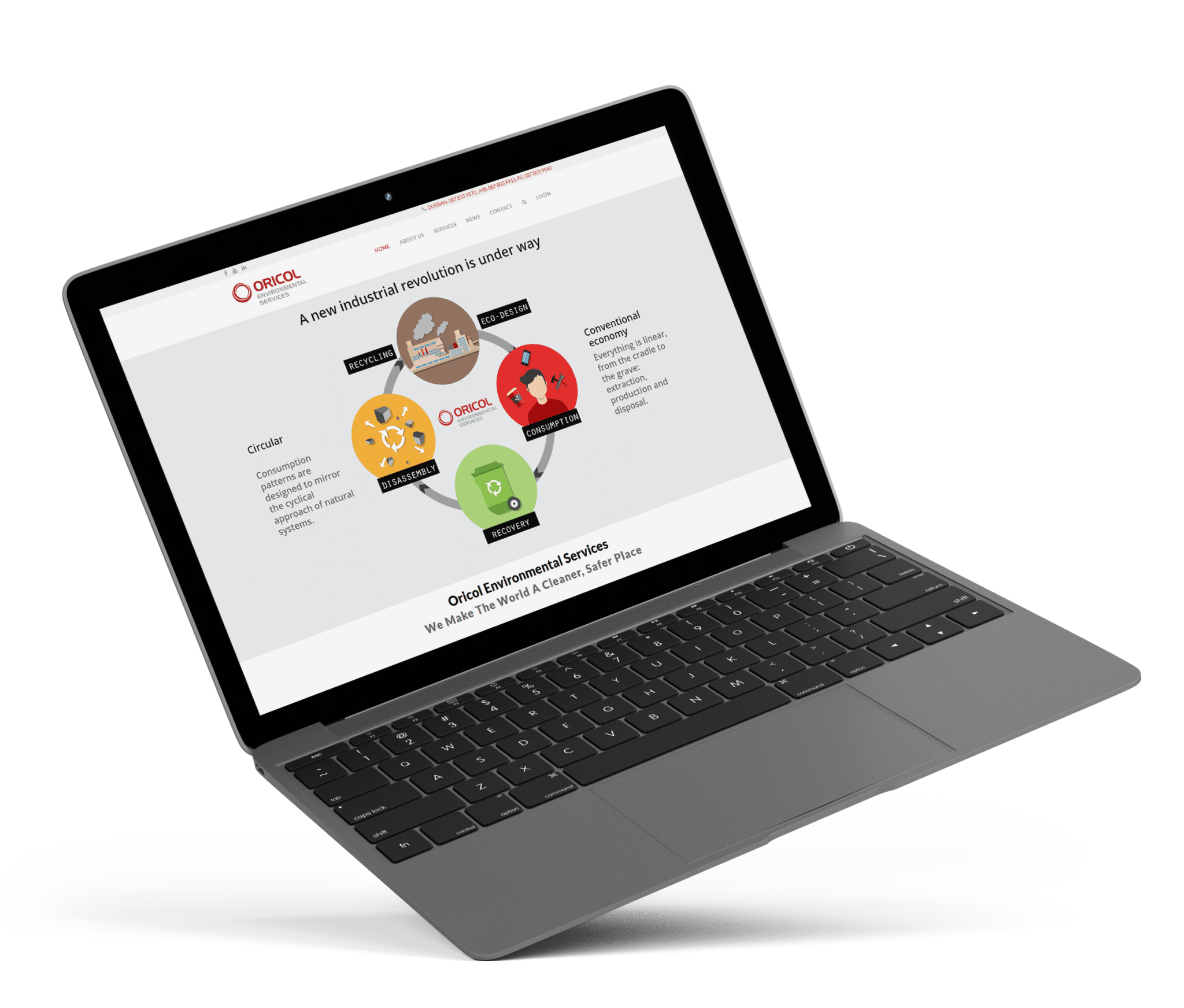 Oricol Environmental Services new website appearance on a laptop