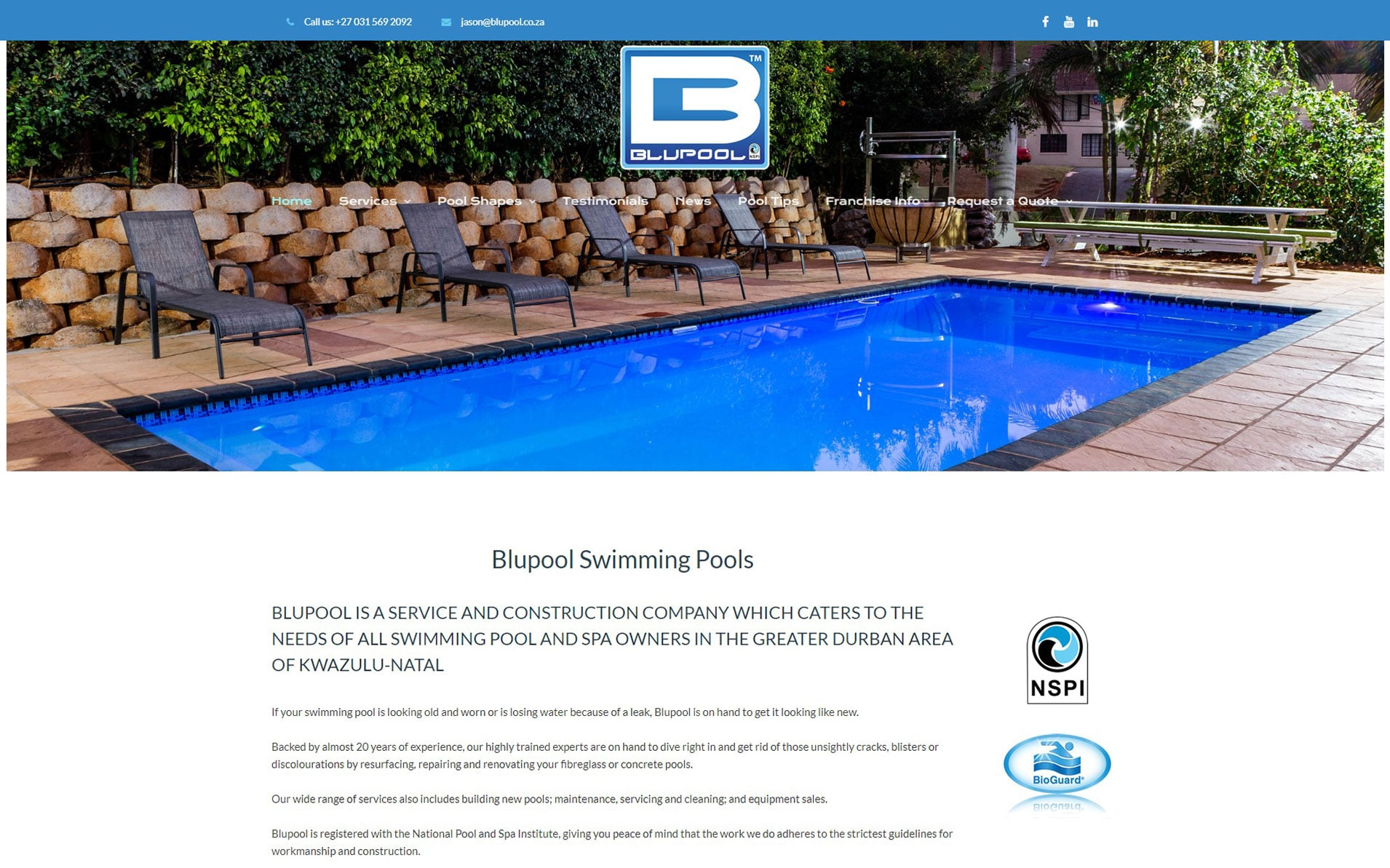 The Best Swimming Pool Company in Durban and KZN New Pools Pool Services Pool Chemicals Swimming Pool Equipment Blupool Swimming Pool Services